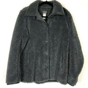 Patagonia Gray Button Up Fuzzy Fleece Coat Jacket